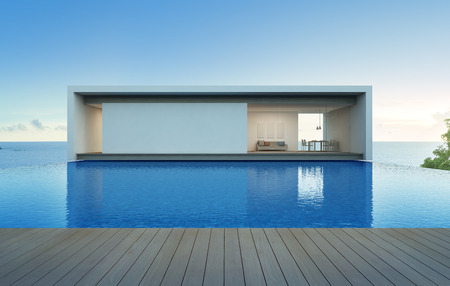 Sea view house with pool and terrace, Luxury holiday villa - 3d rendering