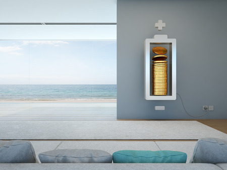 Living room with battery and coins in financial freedom concept - 3D rendering