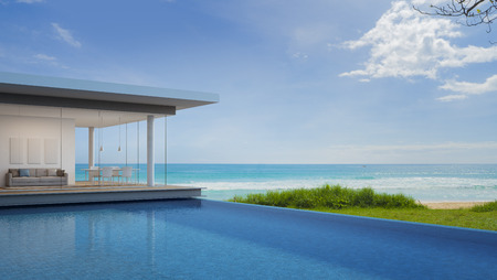Luxury beach house with sea view in modern design - 3d rendering 版權商用圖片