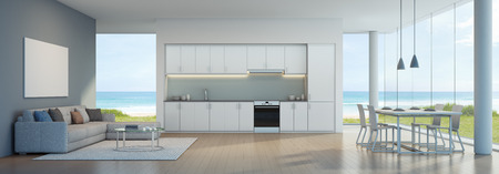 Sea view kitchen, dining and living room in beach house - 3D rendering 스톡 콘텐츠