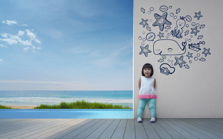 little girls: Funny asian child playing in beach house - 3d rendering