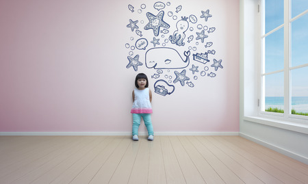 ocean floor: Funny asian child playing in pink room of beach house - 3d rendering Stock Photo