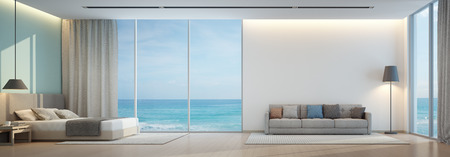 Sea view bedroom and living room in luxury beach house - 3D rendering 스톡 콘텐츠