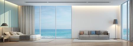 Uitzicht op zee slaapkamer en een woonkamer in luxe beach house - 3D-weergave Stockfoto - 70293940