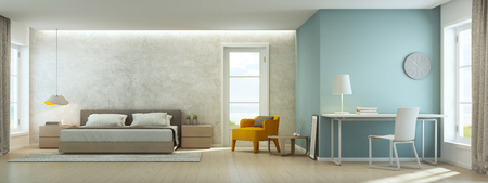 Sea view bedroom and living room in luxury beach house, Modern interior of home office - 3D rendering 版權商用圖片 - 73013133