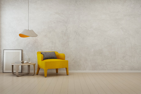 Living room with empty concrete wall background in modern house - 3D rendering