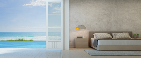 Sea view bedroom with terrace in luxury beach house, Modern interior of pool villa - 3D rendering 스톡 콘텐츠