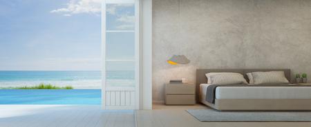 Sea view bedroom with terrace in luxury beach house, Modern interior of pool villa - 3D rendering 版權商用圖片