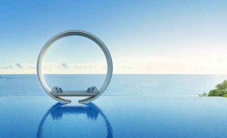 Bank en zwembad in luxe overzeese meningshotel - het 3d teruggeven Stockfoto