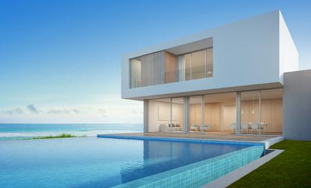 Casa di spiaggia di lusso con la piscina di vista del mare nella progettazione moderna, casa di vacanza per la grande famiglia - rappresentazione 3d