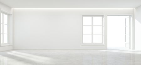 Room with concrete floor and empty wall background in modern house, Luxury white interior of new home - 3D rendering