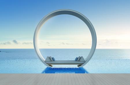 lit canapé et piscine dans la vue sur la mer de luxe - rendu 3d