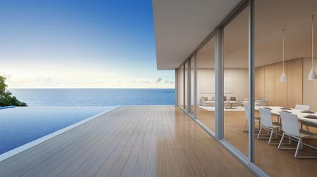 Luxusstrandhaus mit Seeansichtswimmingpool im modernen Design, Ferienhaus für große Familie - Wiedergabe 3d des Wohngebäudes