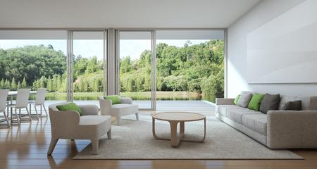 Ess- und Wohnzimmer des Luxushauses mit Seeansicht in modernem Design, Ferienhaus für große Familie - Innen-Wiedergabe 3d Standard-Bild - 78761596