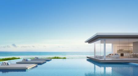 Casa sulla spiaggia di lusso con piscina vista mare in design moderno, casa per le vacanze per grande famiglia - rendering 3D di edificio residenziale