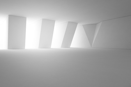 Abstract interior design of modern showroom with empty floor and white wall background - 3d rendering Stock fotó