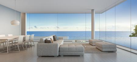 Comedor y salón de lujo playa casa con vista mar piscina en moderno diseño hogar, para, grande, familia 3D, representación