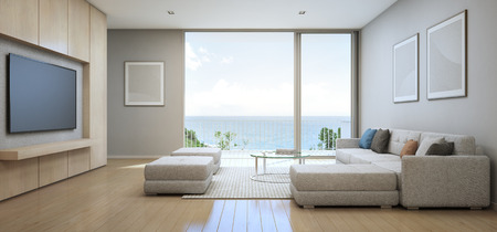penthouse: Sea view Living room with terrace in modern luxury beach house, Vacation home for big family - Interior 3d rendering Stock Photo