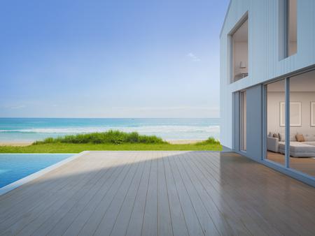 Casa di lusso spiaggia con piscina vista mare e terrazza vuota nel design moderno, Casa di vacanze per la grande famiglia - 3d rendering di edificio residenziale