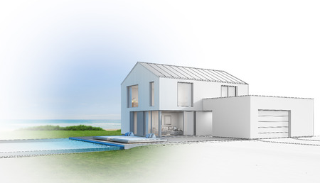 garage on house: Luxury beach house with sea view swimming pool, Sketch design of modern vacation home for big family - 3d rendering of residential building