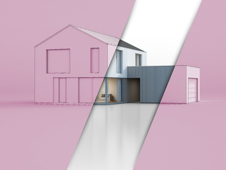 Luxury scandinavian house with garage, Sketch design of modern new home for big family on pink background - Abstract 3d rendering Stock Photo
