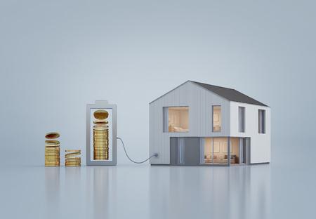 Modern huis met gouden munten in onroerend goed investeringen en bedrijfsgroei concept, nieuw huis kopen voor grote familie - 3D-weergave van residentieel gebouw Stockfoto