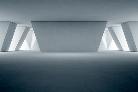 Abstract interior design of modern showroom with empty floor and concrete wall background - 3d rendering 写真素材