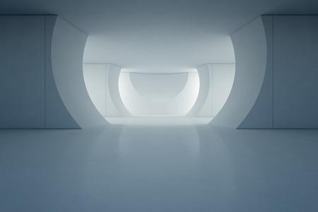 空床とコンクリートの壁の背景 - ステージ 3 d レンダリング モダンなショールームの抽象的なインテリア デザイン