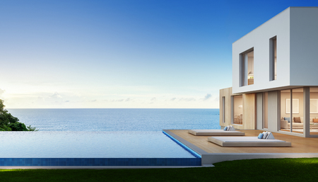 Luxury beach house with sea view swimming pool and terrace in modern design, Vacation home for big family - 3d rendering of residential building 版權商用圖片 - 83076921