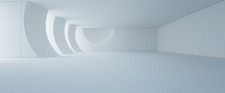Design d'intérieur abstrait du showroom blanc moderne avec plancher vide et fond de mur en béton - Rendu 3d de l'étape