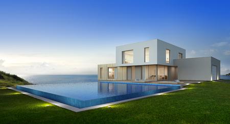 Casa de playa de lujo con piscina y terraza con vistas al mar en un diseño moderno, casa de vacaciones para una gran familia - representación 3D de un nuevo edificio residencial Foto de archivo