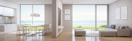 Cocina con vistas al mar, comedor y sala de estar de la casa de playa de lujo en un diseño moderno. Casa de vacaciones para familia grande - representación 3D interior Foto de archivo