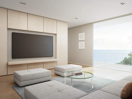 Sea view Living room with terrace in modern luxury beach house, Vacation home for big family - Interior 3d rendering Banque d'images