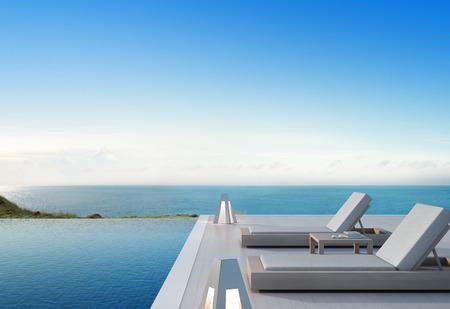 Mar vista piscina y terraza en casa de playa de lujo moderno con fondo de cielo azul, sillas de salón en cubierta de madera en casa de vacaciones o hotel - 3d ilustración de complejo turístico Foto de archivo - 84948887