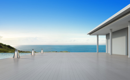 Sea view swimming pool and empty big terrace in modern luxury beach house with blue sky background, Lamps on large wooden deck at vacation home or hotel - 3d illustration of tourist resort