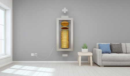 living room window: Living room of modern house with gold coins in property investment and business growth concept, Saving money to buy new home for family - Interior 3D rendering