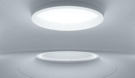 Abstract interior design of modern showroom with empty white floor and curved concrete wall background, Podium for product display in future architecture or spaceship - Stage 3d illustration 스톡 콘텐츠