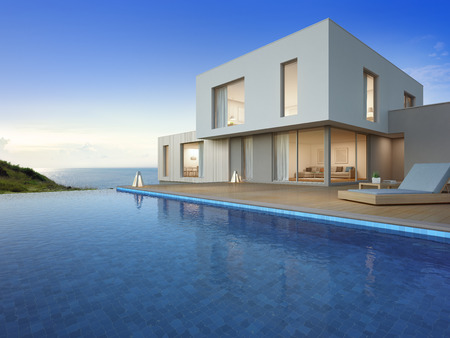 Luxury beach house with sea view swimming pool and terrace in modern design, Vacation home or holiday villa for big family - 3d illustration of new residential building