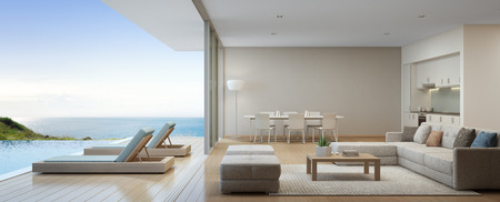 Sea view kitchen, dining and living room of luxury beach house with terrace near swimming pool in modern design. Vacation home or holiday villa for big family. Interior 3d rendering 스톡 콘텐츠