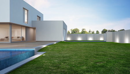 Luxury house with swimming pool and terrace near lawn in modern design, Vacation home or holiday villa for big family - 3d illustration of new residential building