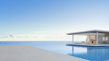 Luxury beach house and sea view swimming pool near empty wooden floor deck in modern design, Vacation home or hotel for big family with blue sky background - 3d illustration of holiday villa exterior