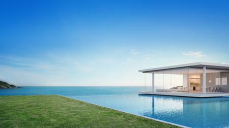 Luxury beach house and sea view swimming pool near empty grass floor deck in modern design, Vacation home or hotel for big family with blue sky background - 3d illustration of holiday villa exterior