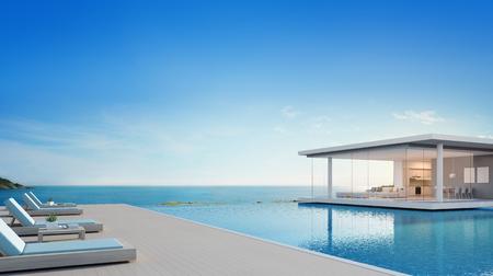 바다보기 럭셔리 비치 하우스 수영장 및 테라스 현대적인 디자인, 나무 바닥에 라운지의 자 휴가 갑판 집 또는 호텔 -3d 그림 현대 휴가 빌라 외관