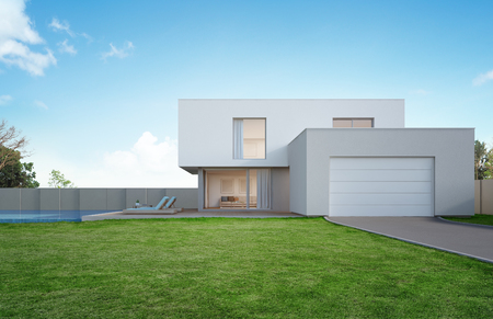 Luxury house with swimming pool and terrace near lawn in modern design, Empty front yard at vacation home or holiday villa for big family - 3d illustration of new residential building exterior 写真素材
