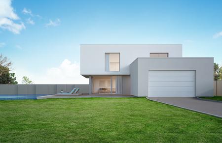 Luksusowy dom z basenem i tarasem w pobliżu trawnika w nowoczesnym stylu, puste podwórko w domu wakacyjnym lub willi wakacyjnej dla dużej rodziny - ilustracja 3d nowego budynku mieszkalnego na zewnątrz
