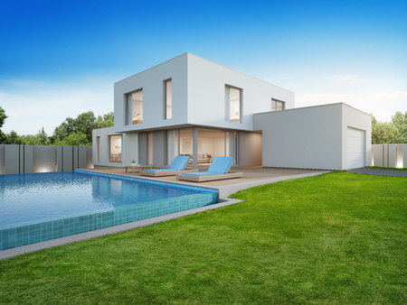 Luxury house with swimming pool and terrace near lawn in modern design, Empty front yard at vacation home or holiday villa for big family - 3d illustration of new residential building exterior Фото со стока