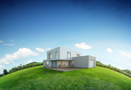 Modern house on earth and green grass with blue sky background in real estate sale or property investment concept, Buying new home for big family - 3d illustration of residential building exterior 免版税图像 - 90013084