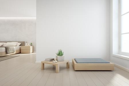 Plante d'intérieur sur la table basse en bois et des meubles modernes avec fond de mur de béton blanc vide, chambre à coucher près de salon dans une maison scandinave - illustration 3D de l'intérieur de la maison
