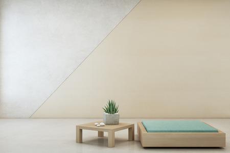 Binneninstallatie op houten koffietafel en minimaal meubilair met lege concrete muurachtergrond, Zitkamer in woonkamer van modern huis - Huis binnenlandse 3d illustratie