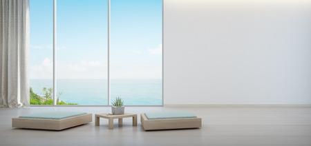 Innenanlage auf hölzernem Couchtisch und minimale Möbel mit leerem weißem Wandhintergrund, Aufenthaltsraum im Seeansichtwohnzimmer des modernen Luxusstrandhauses oder -hotels - Innenarchitektur des Hauses 3d